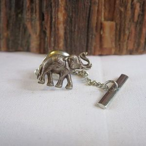 Antique Sterling Silver Elephant Tie Tack